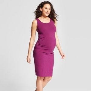 Isabel Maternity Shirred Tank Dress berry